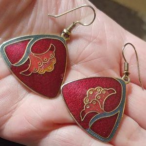 Vintage!!! Roman Enamel Earrings
